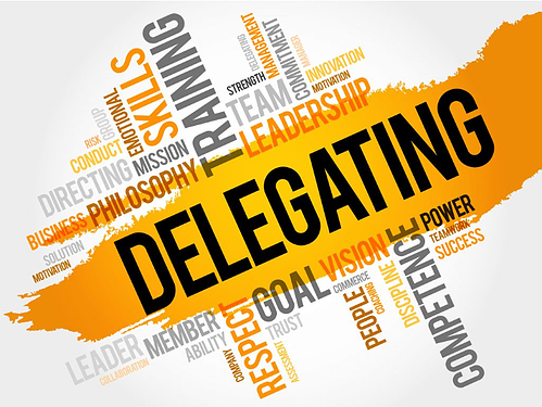 An image filled with keywords connected with delegating.