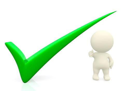 3D person getting it right with a green tick - isolated over a white background